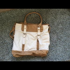 Canvas and faux leather bag